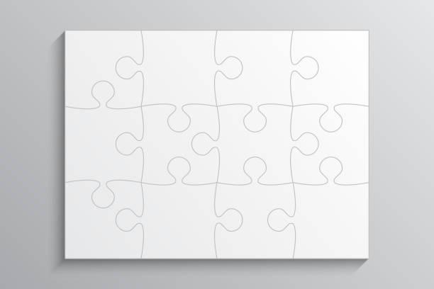 hintergrund mit puzzle-stichsäge 12 weiße einzelteile. - puzzle stock-grafiken, -clipart, -cartoons und -symbole