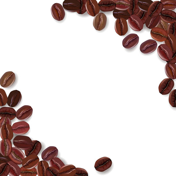 background with realistic coffee beans and a place for text. - ziarno kawy palonej stock illustrations