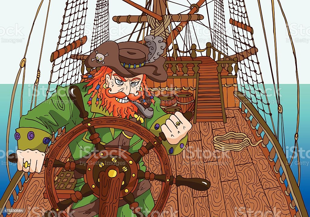 Background with red beard captain on ships deck vector art illustration