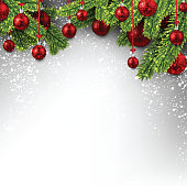New Year background with spruce branches, Christmas balls and snow. Vector illustration.