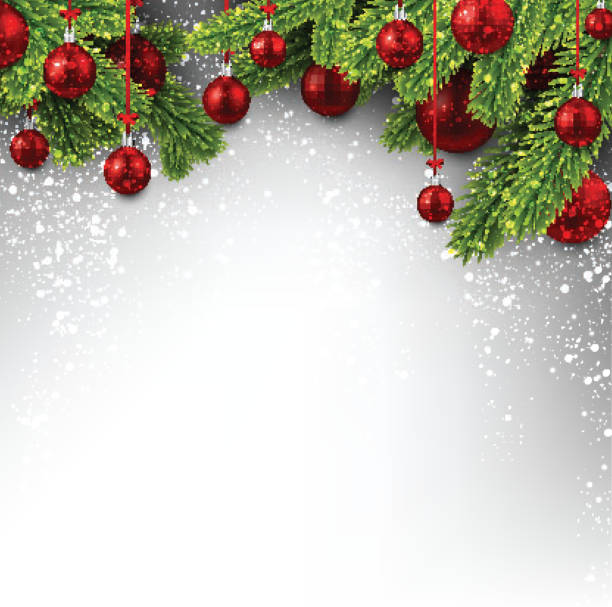 background with red christmas balls. - holiday backgrounds stock illustrations, clip art, cartoons, & icons