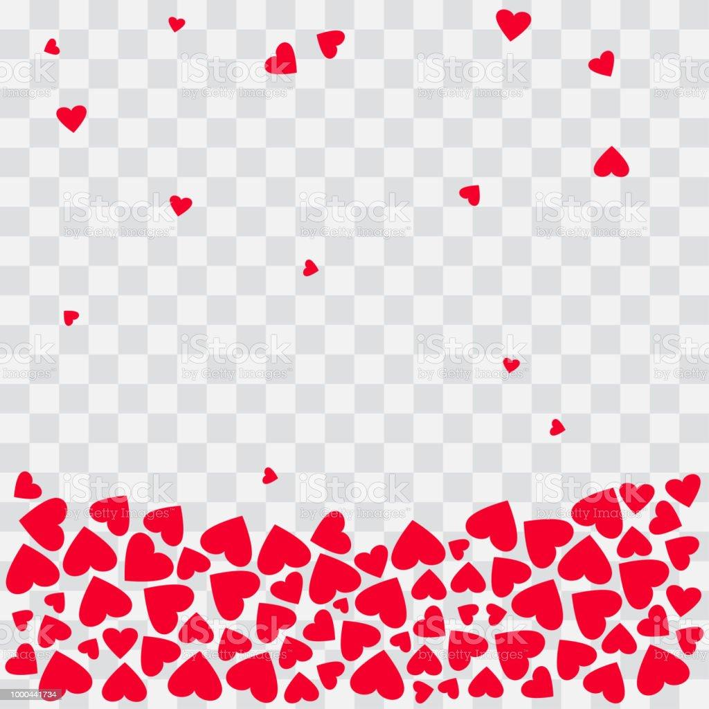 赤いハートの背景透明な背景に落下の心ベクトル図 - お祝いのベクター