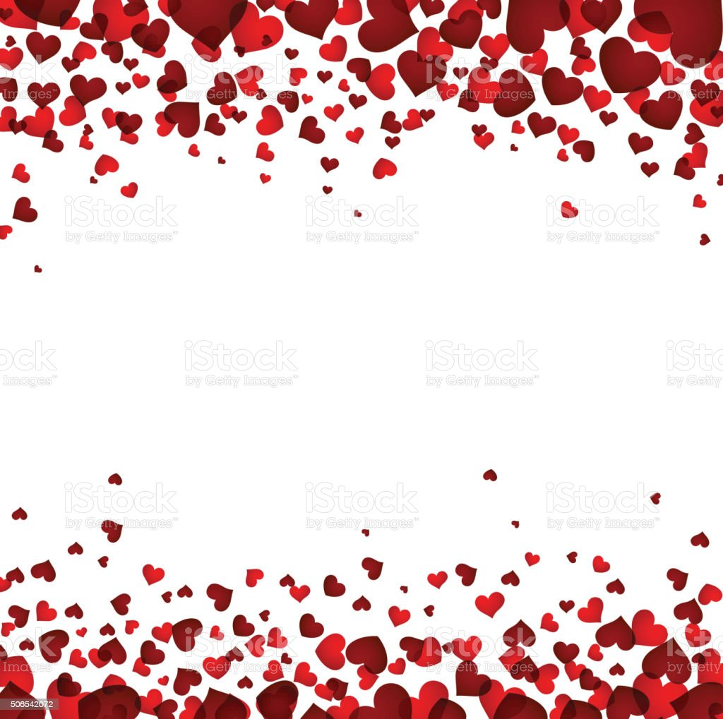 Background with red hearts vector art illustration