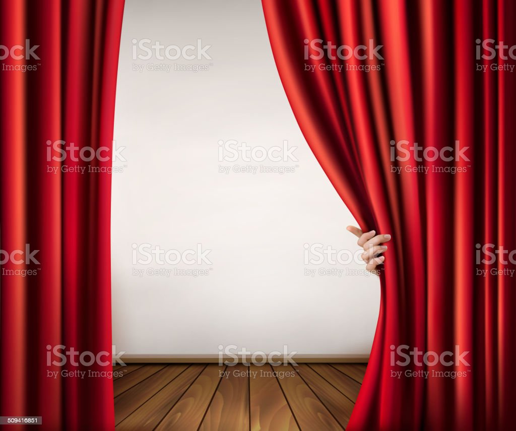 Background with red velvet curtain and hand. Vector illustration vector art illustration