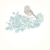 Vector vintage background with roses and birds.