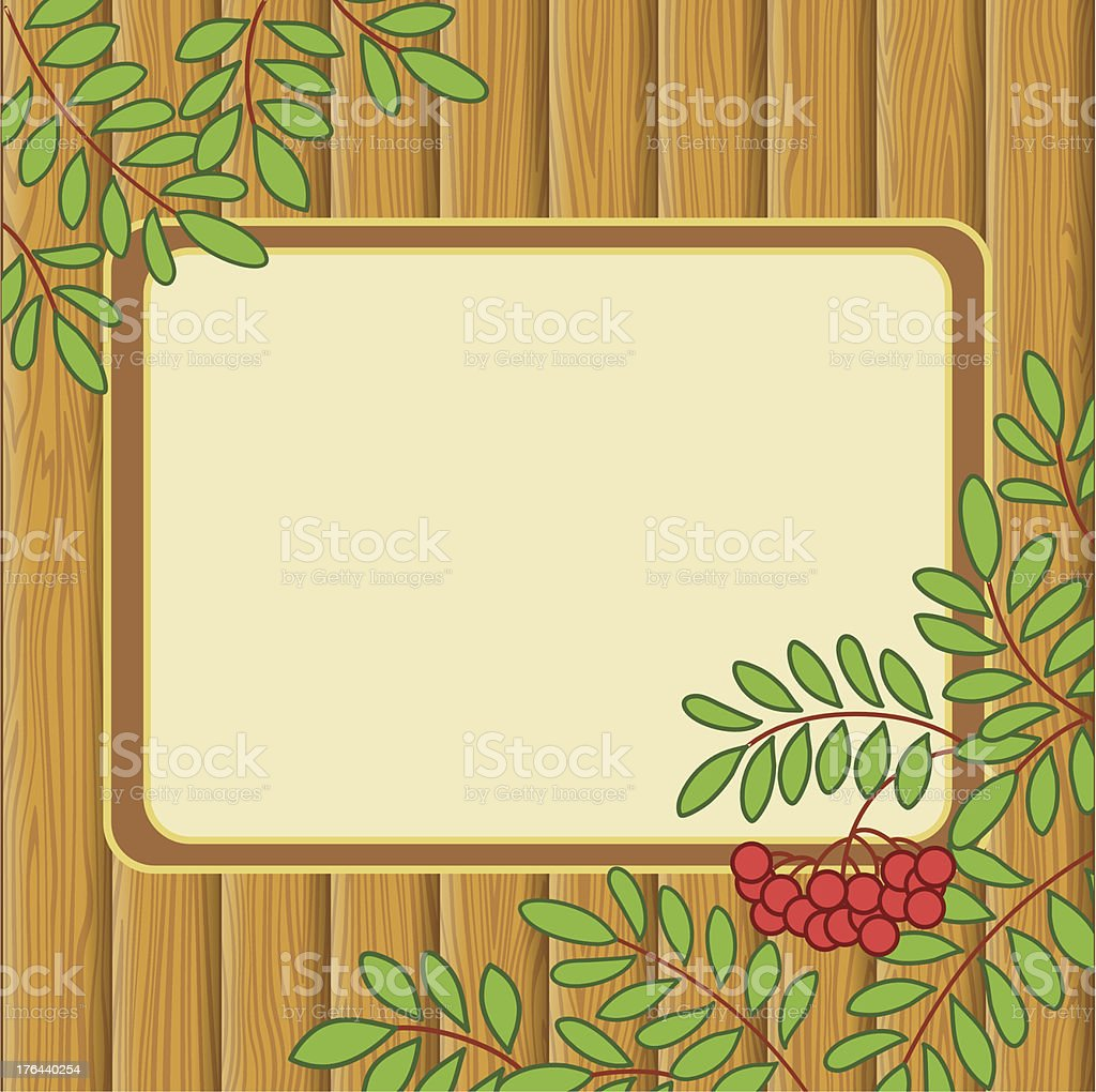 Background with rowanberry and table royalty-free background with rowanberry and table stock vector art & more images of backdrop