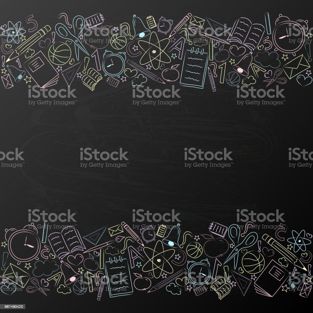 Fondo con accesorios, escuela en pizarra y copyspace - plantilla de un cartel. Vector. - ilustración de arte vectorial