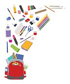 Background with school supplies. School supplies composition with copy space flat vector background