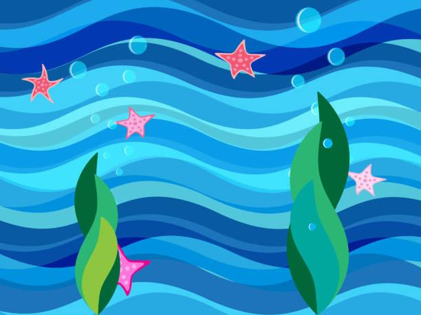 Bекторная иллюстрация Background with sea bottom, seaweed and starfish