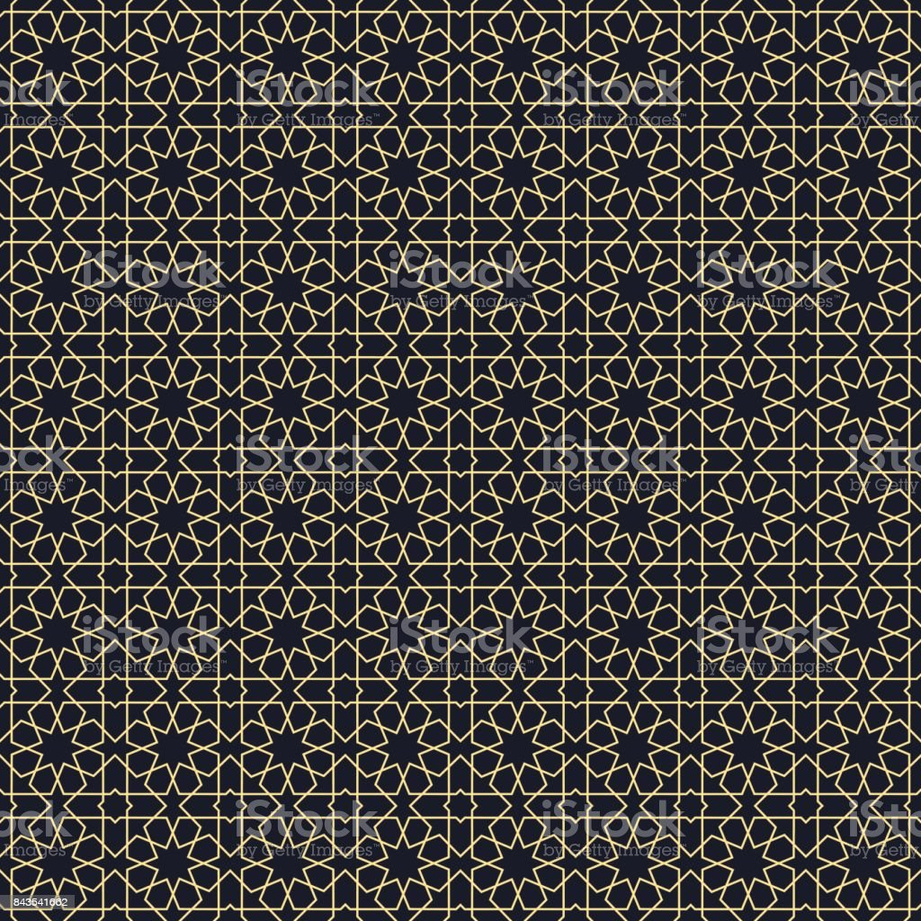 Background with seamless pattern in arabic style. vector art illustration