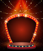 Background with shining garland, sparkle dust and arch banner. Design for presentation, concert, show. Vector illustration
