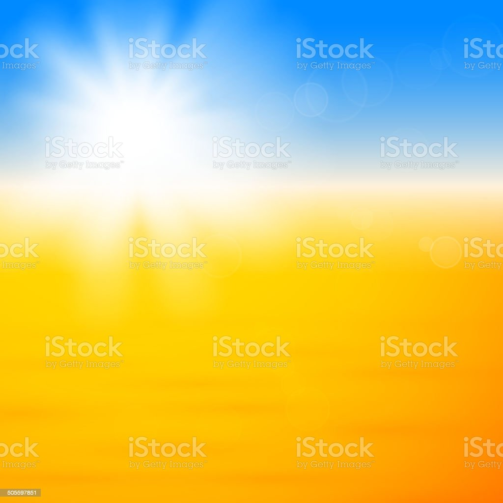 Background with shiny sun over the sand royalty-free stock vector art