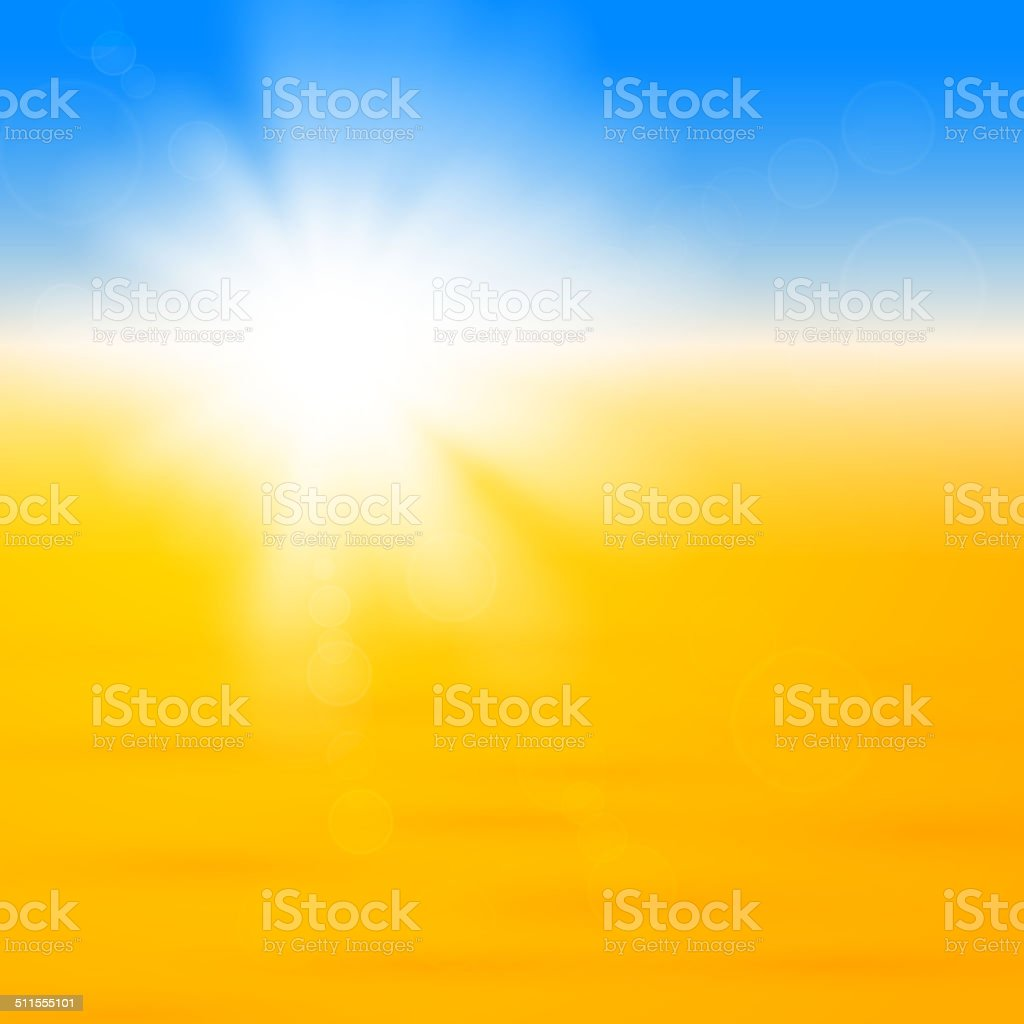 Background with shiny sun over the sand vector art illustration