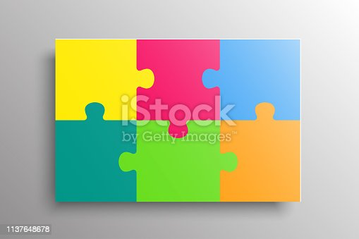 Puzzle background, banner, blank. Vector jigsaw section template. Background with six colorful puzzle frame separate pieces, mosaic, details, tiles, parts. Rectange abstract jigsaw. Game group detail.