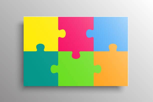 bildbanksillustrationer, clip art samt tecknat material och ikoner med bakgrund med sex färgglada pussel spel separata bitar, delar. rektange grupp detalj. - puzzle