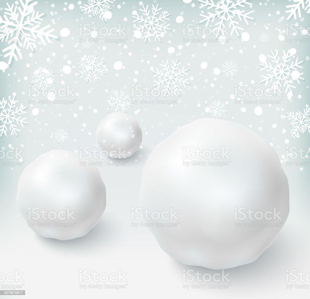 Fundo com bolas de neve e neve - ilustração de arte em vetor