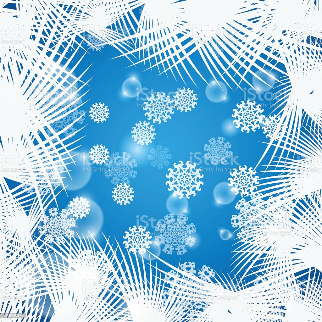 Background with snowflakes and frosted pattern vector art illustration