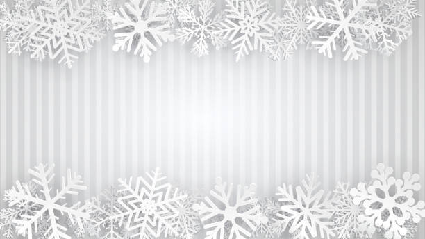 Background with snowflakes Striped background in gray colors with white snowflakes. Vector illustrations. EPS10 and JPG are available january stock illustrations
