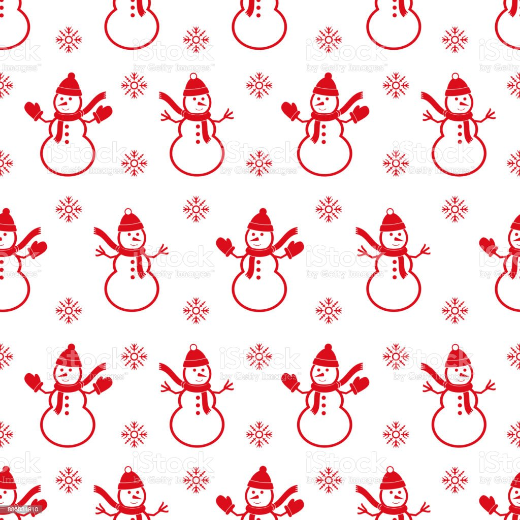 Background with snowman's. Christmas seamless pattern. vector art illustration