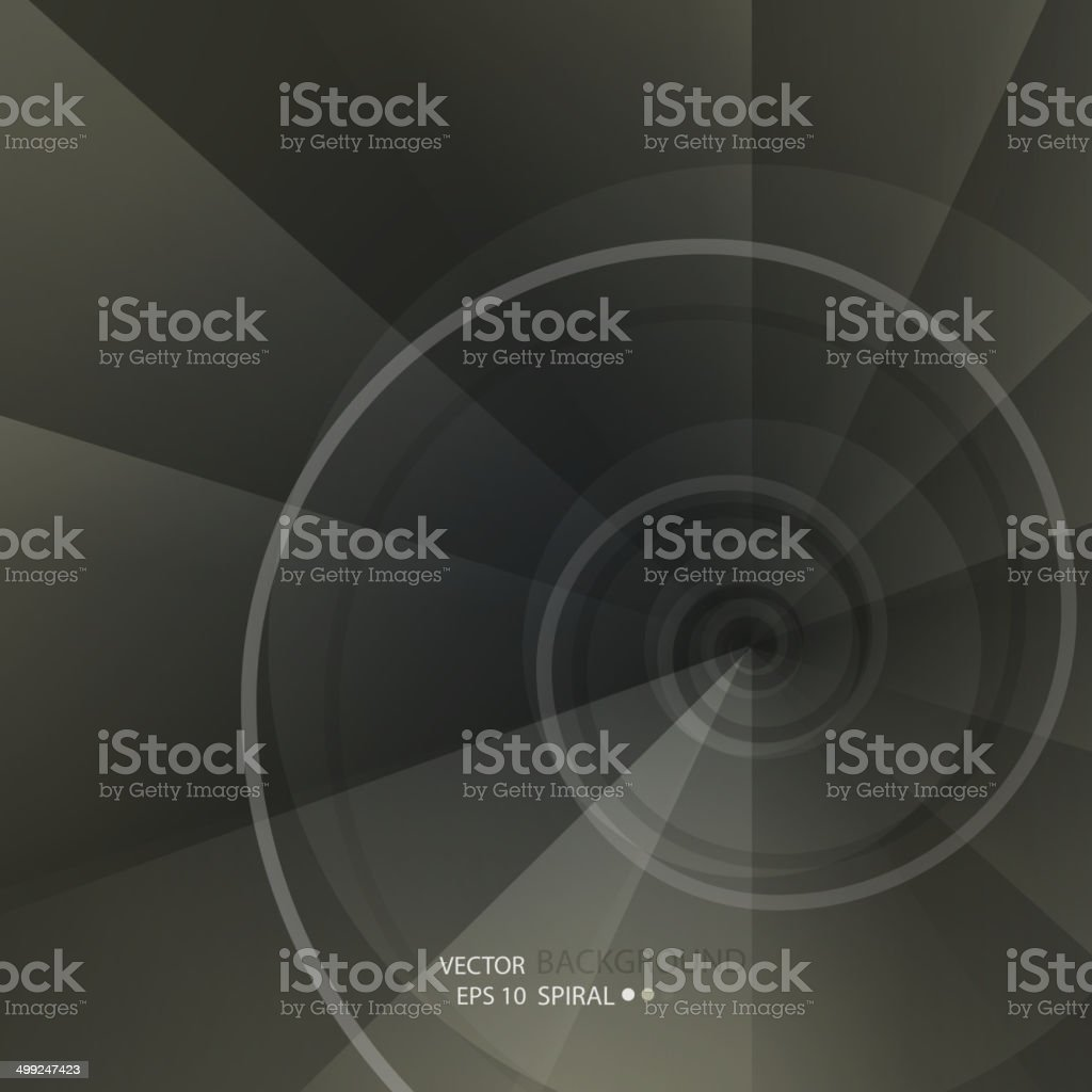 Background with spiral vortex of abstract geometric shapes vector art illustration