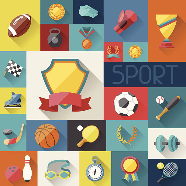 background with sport icons in flat design style. - sports equipment stock illustrations, clip art, cartoons, & icons