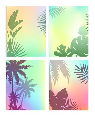 Background with summer leaves vector illustration set, cartoon flat silhouettes of green coconut palm tree leaf, plant of tropical nature, exotic jungle floral border design