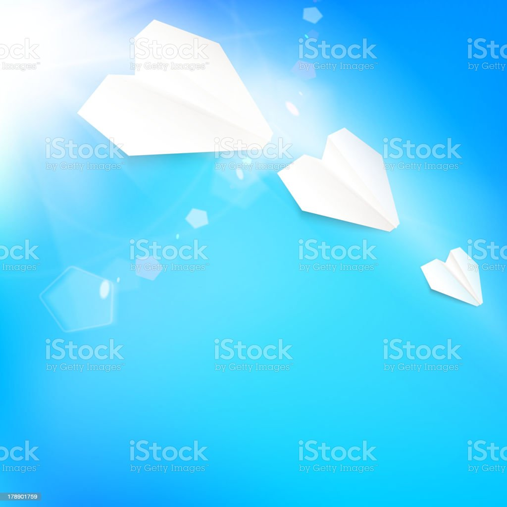 Background with summer sky and airplane royalty-free stock vector art