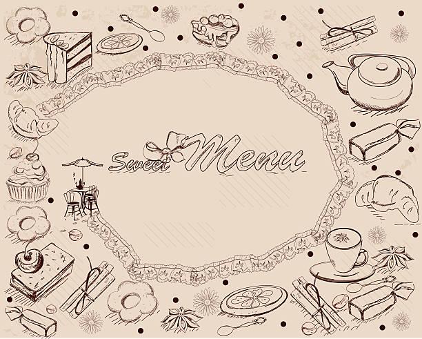 hintergrund mit süßigkeiten und kuchen. - brotzopf stock-grafiken, -clipart, -cartoons und -symbole