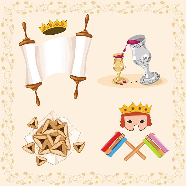 background with symbols of purim - purim stock illustrations, clip art, cartoons, & icons