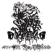 Graffiti marker tags - writing, grunge background
