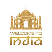 Background with Taj Mahal vector gold silhouette
