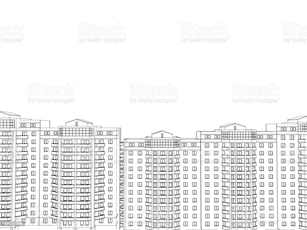 Background with the outlines of multi-storey buildings vector art illustration