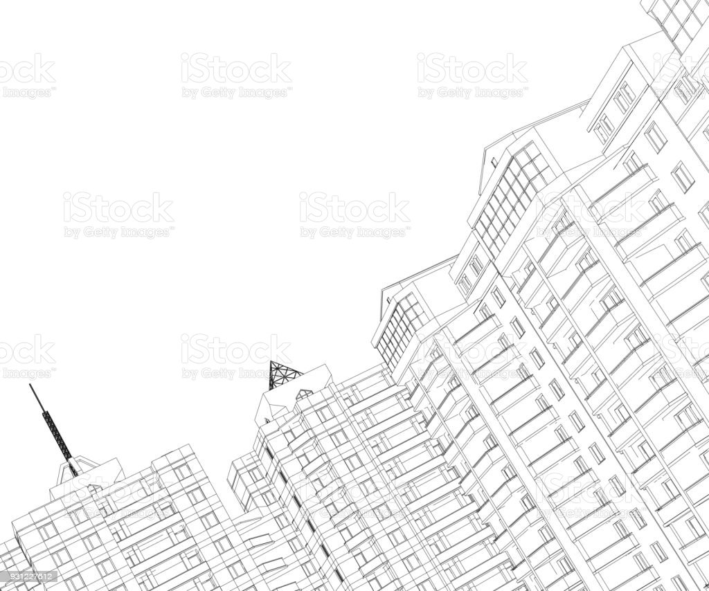 Background with the outlines of residential buildings vector art illustration