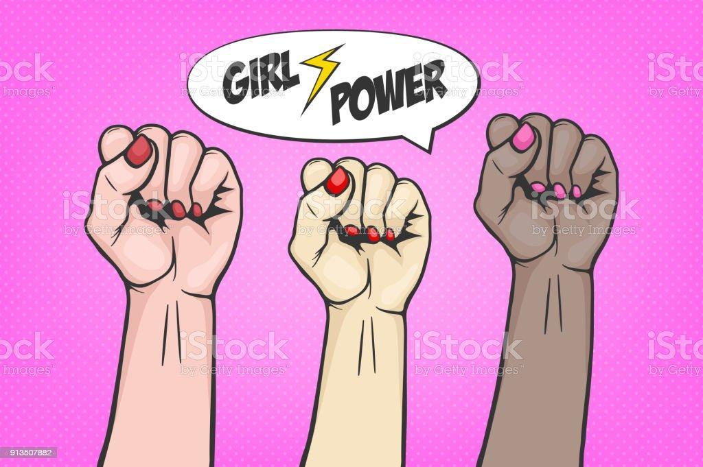 팝 아트 만화 스타일-기호 나 연대, 억압 받는 사람과 여자의 권리 세 제기 여자의 주먹으로 배경. 페미니즘의 개념, 항의 반란, 혁명 또는 파업 기호 Plackard. 아트 포스터 템플릿 배경 등 - 로열티 프리 개념 벡터 아트