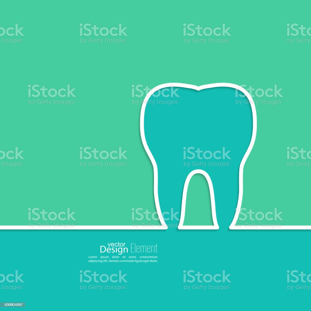 Background with tooth outline. vector art illustration