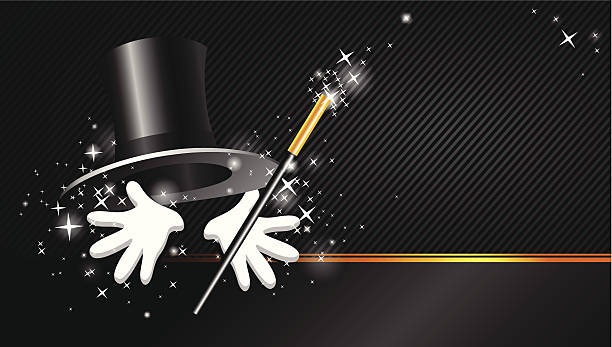 background with top hat, magic wand and hand magical presentation with top hat magic wand and hand formal glove stock illustrations