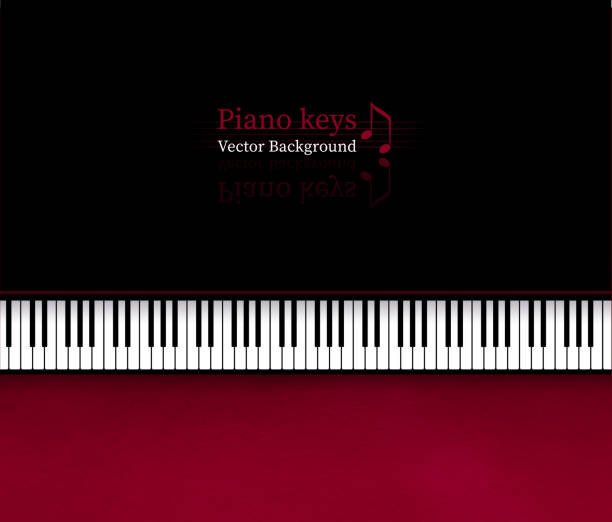 background with top view piano keys - pianino instrument klawiszowy stock illustrations