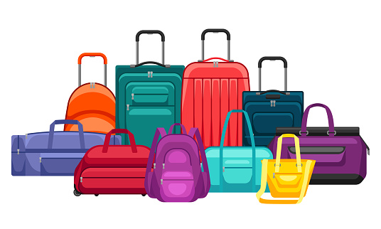 Background with travel suitcases and bags.