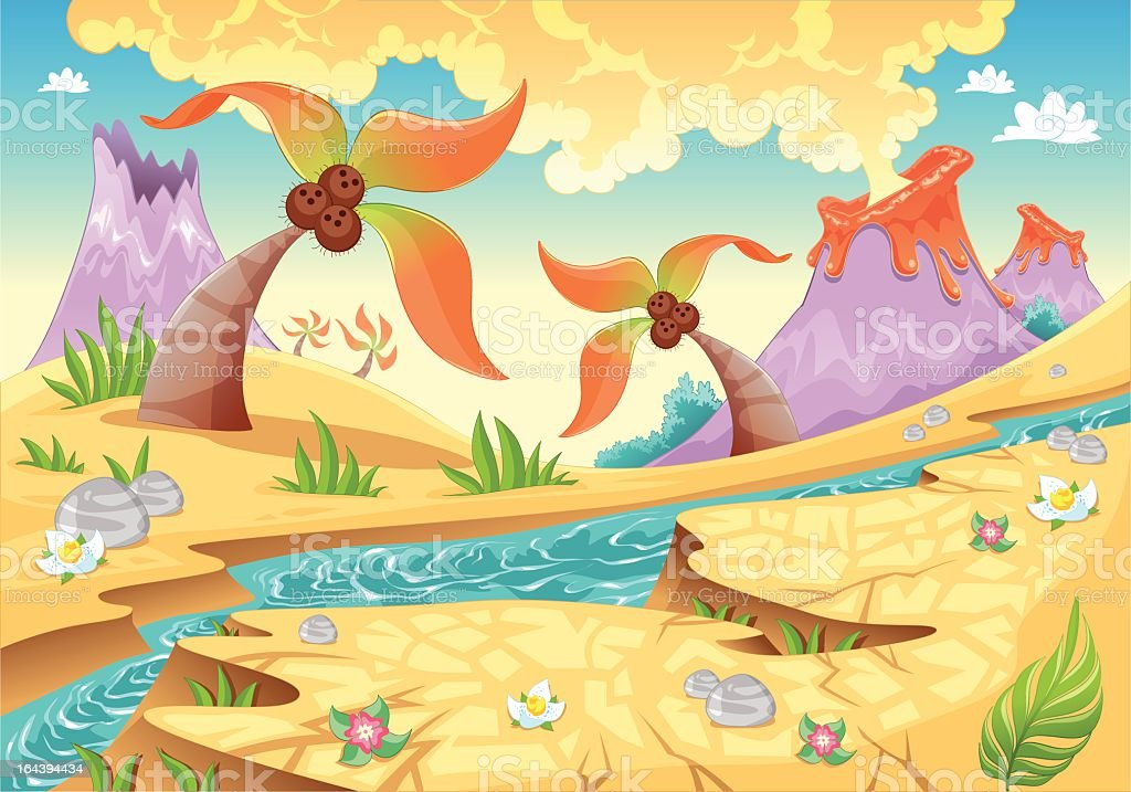 Background with tree palms and volcanoes. vector art illustration