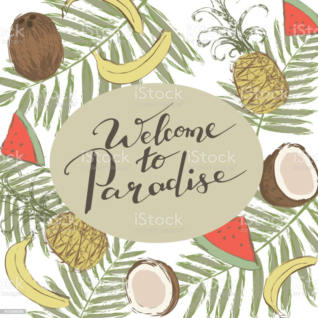 background with tropical fruits and handwriting words welcome to