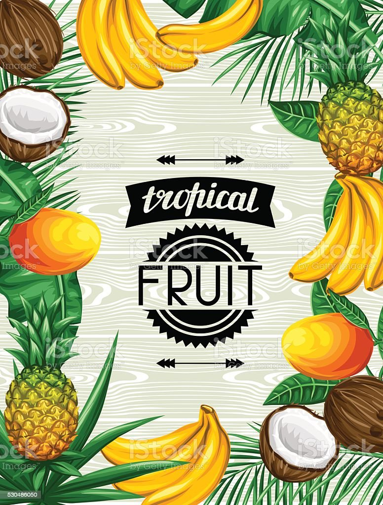 Background with tropical fruits and leaves. Design for advertising booklets vector art illustration