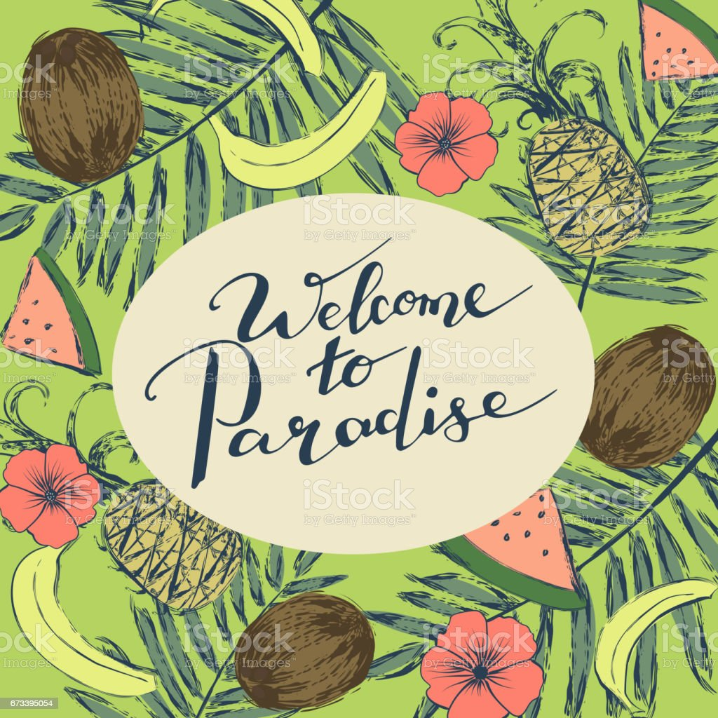 background with tropical fruits flowers and handwriting words