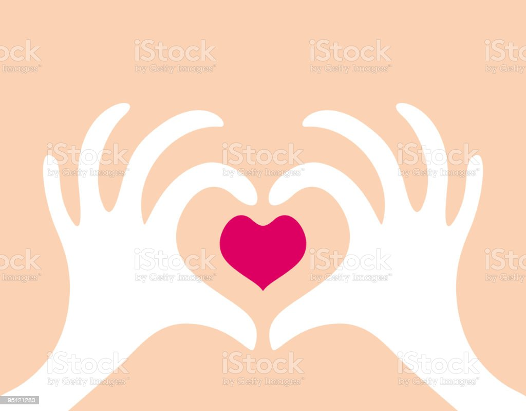 background with two hands and a heart royalty-free stock vector art