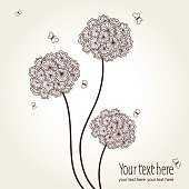 Vector cute picture with hand-drawn flowers and butterflies on a white background. Graphics.