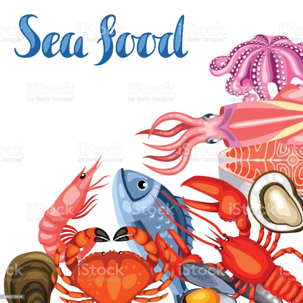 Background With Various Seafood Illustration Of Fish Shellfish And Crustaceans Gm660273516 120488723 on Stock Illustration Fish Silhouette
