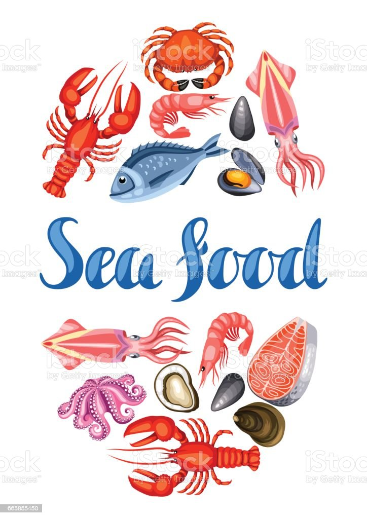 Background With Various Seafood Illustration Of Fish ...