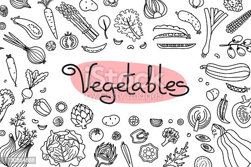Background with various vegetables and an inscription for menu design, recipes and product packaging. Vector illustration.
