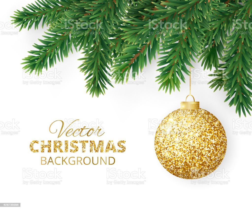 Background with vector christmas tree branches and hanging glitter ball vector art illustration