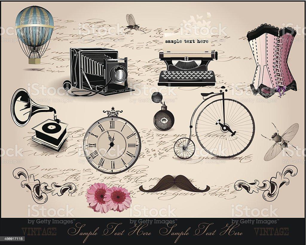 Hintergrund mit vintage-Elementen – Vektorgrafik