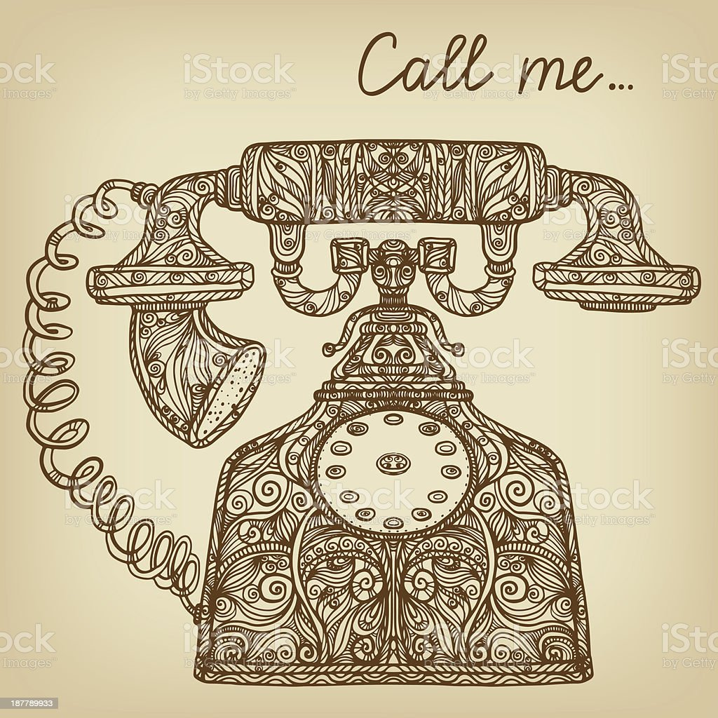 Background with vintage retro telephone isolated royalty-free stock vector art